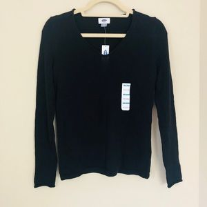 NWT Old Navy Black V Neck Sweater LS XS A58